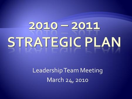 Leadership Team Meeting March 24, 2010.  Project Based Approach  Cross Functional Project Teams  Projects Support Multiple Operational Expectations.