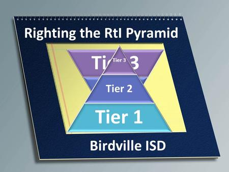 Tier 3 Tier 2 Tier 1 Righting the RtI Pyramid Tier 3 Tier 2 Tier 1 Birdville ISD.