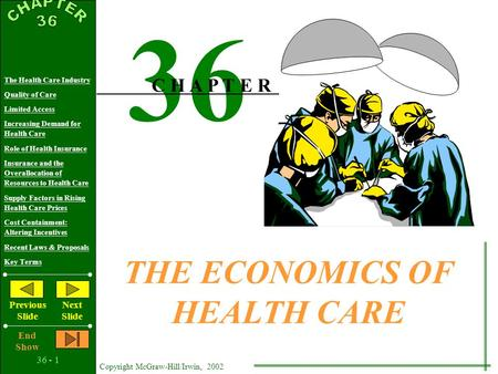 36 - 1 Copyright McGraw-Hill/Irwin, 2002 The Health Care Industry Quality of Care Limited Access Increasing Demand for Health Care Role of Health Insurance.