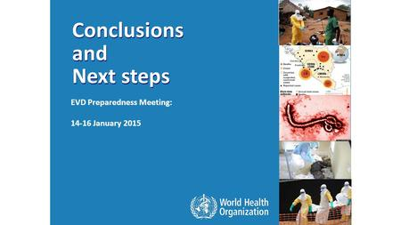 Conclusions and Next steps Conclusions and Next steps EVD Preparedness Meeting: 14-16 January 2015.