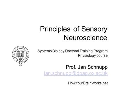 Principles of Sensory Neuroscience Systems Biology Doctoral Training Program Physiology course Prof. Jan Schnupp HowYourBrainWorks.net.