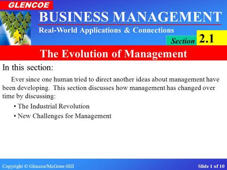 Copyright © Glencoe/McGraw-Hill Slide 1 of 10 BUSINESS MANAGEMENT Real-World Applications & Connections GLENCOE Section 2.1 The Evolution of Management.