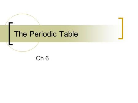 The Periodic Table Ch 6. History of the Periodic Table Only 13 elements had been discovered by 1700 As time went on and more elements were discovered.