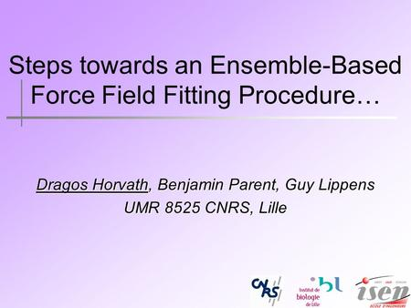 Steps towards an Ensemble-Based Force Field Fitting Procedure… Dragos Horvath, Benjamin Parent, Guy Lippens UMR 8525 CNRS, Lille.