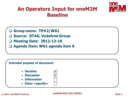 An Operators Input for oneM2M Baseline  Group name: TP#2/WG1  Source: DTAG, Vodafone Group  Meeting Date: 2012-12-10  Agenda Item: WG1 agenda item.