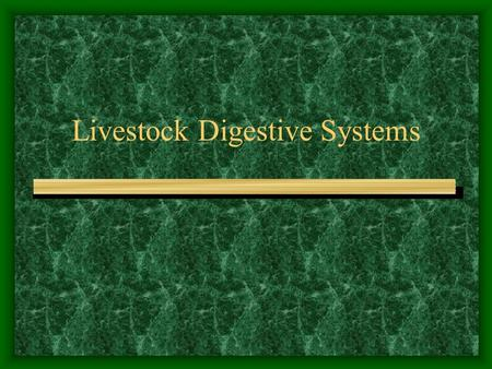 Livestock Digestive Systems Ruminant Digestive System Objectives: –Know the four parts of the ruminant stomach. –Know examples of animals that have a.