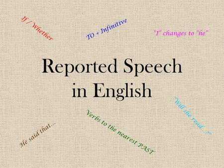 "Reported Speech in English He said that… If / Whether ""Will she read…?"" TO + Infinitive Verbs to the nearest PAST ""I"" changes to ""he"""