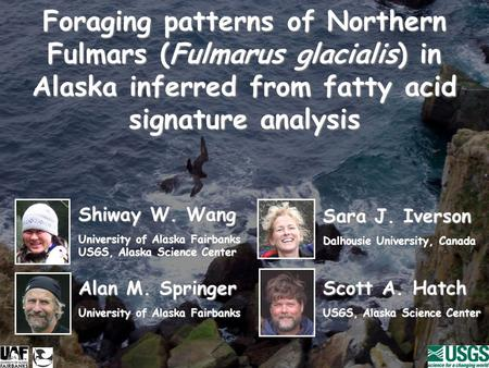 Foraging patterns of Northern Fulmars (Fulmarus glacialis) in Alaska inferred from fatty acid signature analysis Shiway W. Wang University of Alaska Fairbanks.
