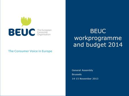 BEUC workprogramme and budget 2014 General Assembly Brussels 14-15 November 2013.