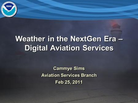 1 Weather in the NextGen Era – Digital Aviation Services Cammye Sims Aviation Services Branch Feb 25, 2011 Cammye Sims Aviation Services Branch Feb 25,