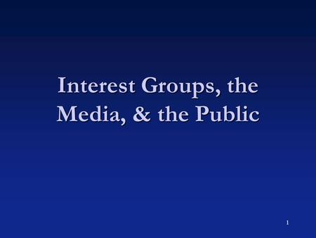 1 Interest Groups, the Media, & the Public. 2 Public and National Security Policy  Argument:  Among all policy areas, national security is the one facing.