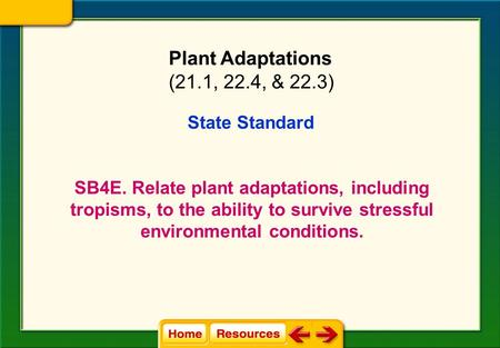 State Standard SB4E. Relate plant adaptations, including tropisms, to the ability to survive stressful environmental conditions. Plant Adaptations (21.1,