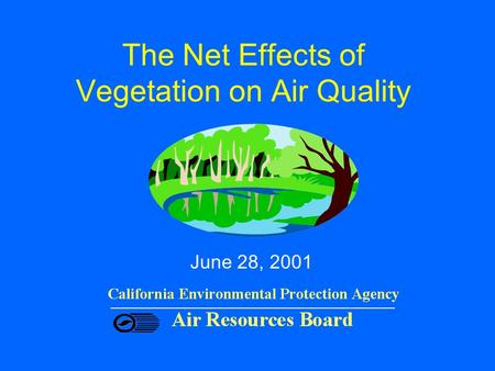 The Net Effects of Vegetation on Air Quality June 28, 2001.