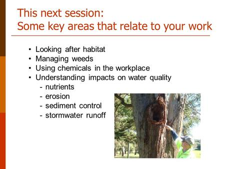 This next session: Some key areas that relate to your work Looking after habitat Managing weeds Using chemicals in the workplace Understanding impacts.