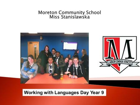 Moreton Community School Miss Stanislawska Working with Languages Day Year 9.