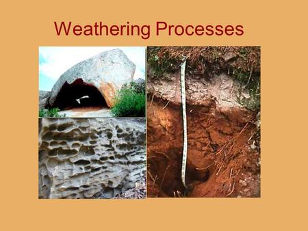 Weathering Processes. Weathering 1.Weathering vs. Erosion 2.Joints: Setting the Stage 3.Physical (Mechanical) Weathering 4.Chemical Weathering.