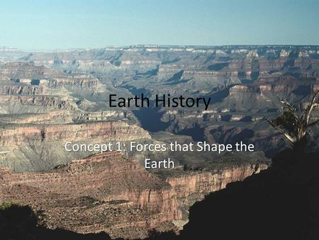 Earth History Concept 1: Forces that Shape the Earth.