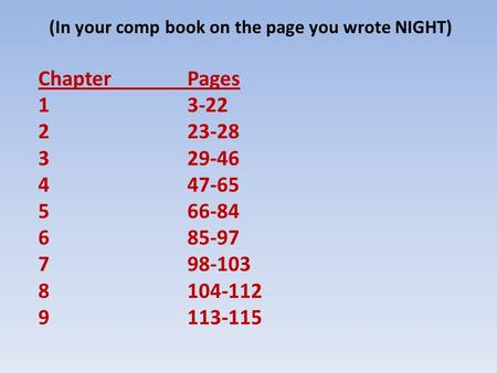 (In your comp book on the page you wrote NIGHT) ChapterPages 13-22 223-28 329-46 447-65 566-84 685-97 798-103 8104-112 9113-115.