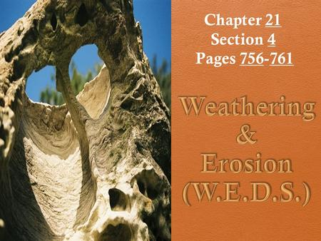 Chapter 21 Section 4 Pages 756-761. W.E.D.S 1. Weathering a. Physical b. Chemical 2. Erosion 3. Deposition 4. Sedimentation (burial & compaction)