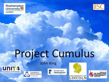 Project Cumulus John King. This is not unfamiliar territory.
