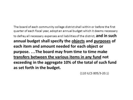 The board of each community college district shall within or before the first quarter of each fiscal year, adopt an annual budget which it deems necessary.