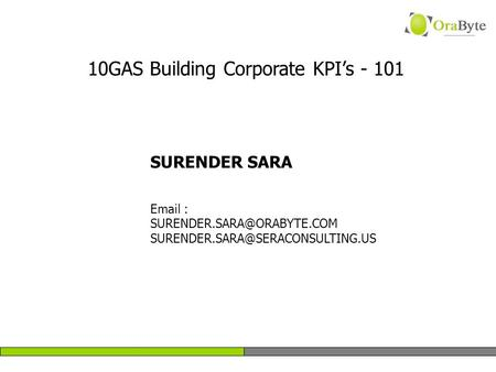 SURENDER SARA    10GAS Building Corporate KPI's - 101.