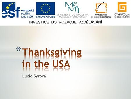 Lucie Syrová. * General facts * Pilgrim Fathers * Meeting the Native Americans * The first Thanksgiving * Thanksgiving nowadays * Black Friday.