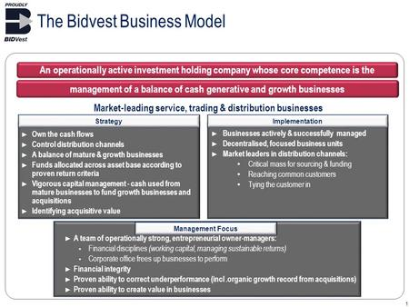 1 The Bidvest Business Model Market-leading service, trading & distribution businesses Implementation ► Businesses actively & successfully managed ► Decentralised,