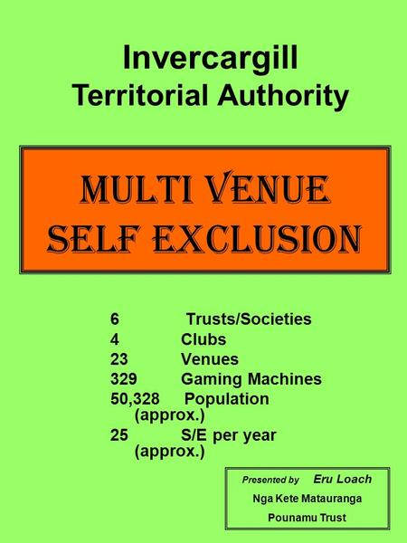 Multi Venue Self Exclusion 6 Trusts/Societies 4 Clubs 23 Venues 329 Gaming Machines 50,328 Population (approx.) 25 S/E per year (approx.) Presented by.