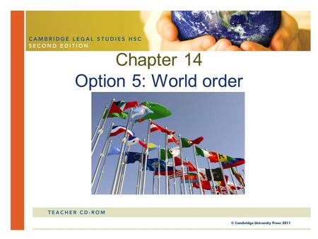 Chapter 14 Option 5: World order. In this chapter, you will study the nature and concepts of world order. You will also look at the various responses.