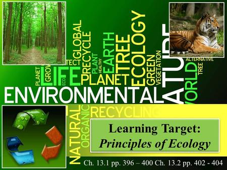Learning Target: Principles of Ecology Learning Target: Principles of Ecology Ch. 13.1 pp. 396 – 400 Ch. 13.2 pp. 402 - 404.