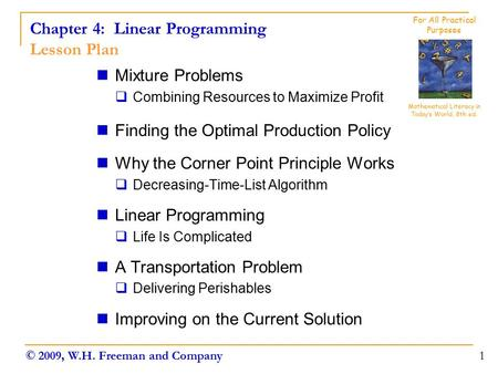 Chapter 4: Linear Programming Lesson Plan
