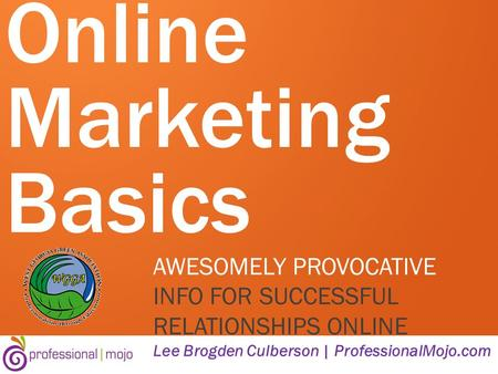Online Marketing Basics AWESOMELY PROVOCATIVE INFO FOR SUCCESSFUL RELATIONSHIPS ONLINE Lee Brogden Culberson | ProfessionalMojo.com.