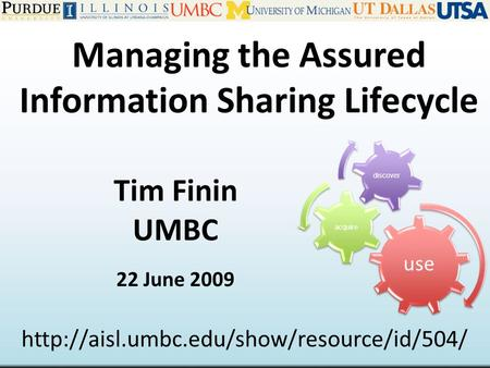 Managing the Assured Information Sharing Lifecycle Tim Finin UMBC 22 June 2009  use acquire discover.