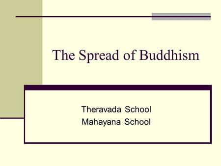 The Spread of Buddhism Theravada School Mahayana School.