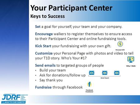 Your Participant Center Keys to Success Set a goal for yourself, your team and your company. Encourage walkers to register themselves to ensure access.