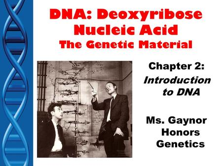 DNA: Deoxyribose Nucleic Acid The Genetic Material Chapter 2: Introduction to DNA Ms. Gaynor Honors Genetics.