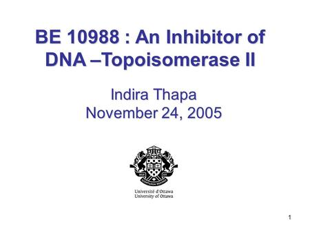 1 BE 10988 : An Inhibitor of DNA –Topoisomerase II Indira Thapa November 24, 2005.