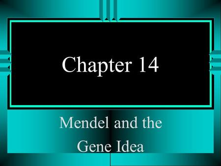 Chapter 14 Mendel and the Gene Idea. Mendel's work: Accomplished most of his work in the 1860's in the small country of Austria. Worked with garden peas.