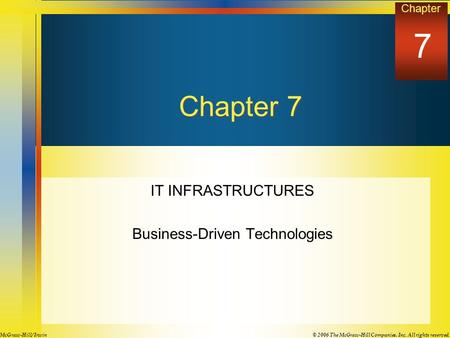 Chapter © 2006 The McGraw-Hill Companies, Inc. All rights reserved.McGraw-Hill/ Irwin Chapter 7 IT INFRASTRUCTURES Business-Driven Technologies 7.