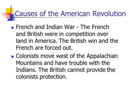 a paper on the causes of frances involvement in the american revolution The french revolution economic crisis during the seven years' war and during france's help for the american revolution the monarchy had fallen deeper in debt.