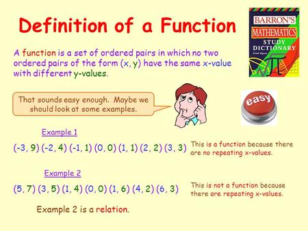 Definition of a Function A function is a set of ordered pairs in which no two ordered pairs of the form (x, y) have the same x-value with different y-values.