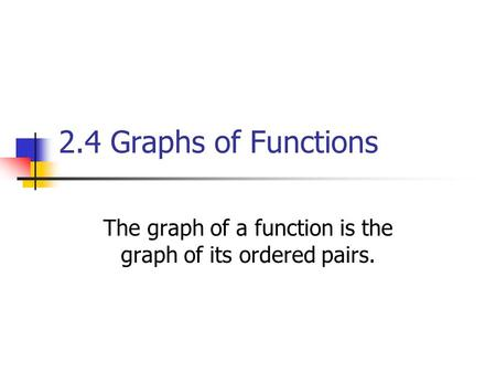 2.4 Graphs of Functions The graph of a function is the graph of its ordered pairs.