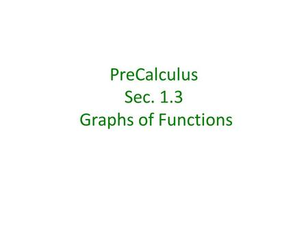 PreCalculus Sec. 1.3 Graphs of Functions. The Vertical Line Test for Functions If any vertical line intersects a graph in more than one point, the graph.