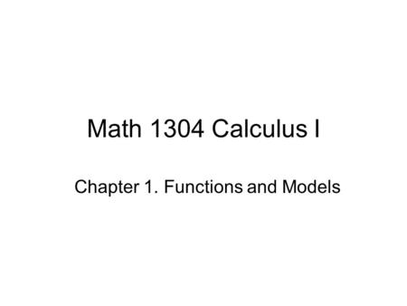 Chapter 1. Functions and Models