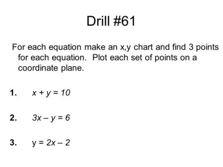 Drill #61 For each equation make an x,y chart and find 3 points for each equation. Plot each set of points on a coordinate plane. 1.x + y = 10 2.3x – y.
