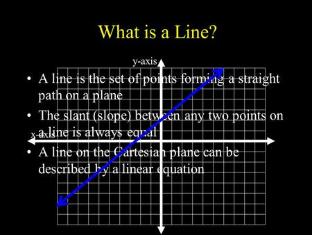 What is a Line? A line is the set of points forming a straight path on a plane The slant (slope) between any two points on a line is always equal A line.
