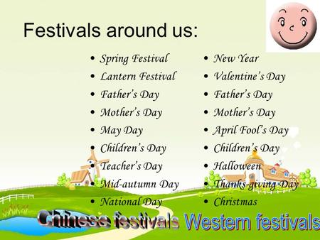 Festivals around us: Spring Festival Lantern Festival Father's Day Mother's Day May Day Children's Day Teacher's Day Mid-autumn Day National Day New Year.