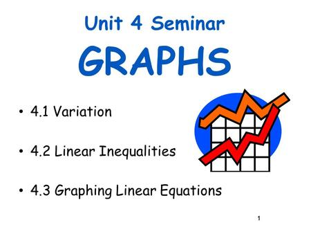 11 Unit 4 Seminar GRAPHS 4.1 Variation 4.2 Linear Inequalities 4.3 Graphing Linear Equations 1.