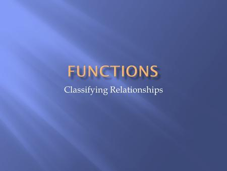 Classifying Relationships.  The definition <strong>of</strong> a <strong>function</strong> is:  A <strong>function</strong> is a relation that maps each element in the <strong>domain</strong> to one <strong>and</strong> only one element.